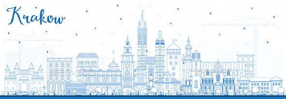 Outline Krakow Poland City Skyline with Blue Buildings. - Buildings Objects