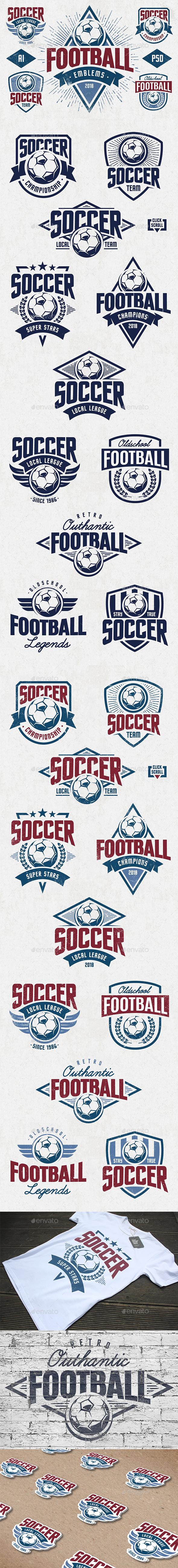 Vector Football Emblems - Sports/Activity Conceptual