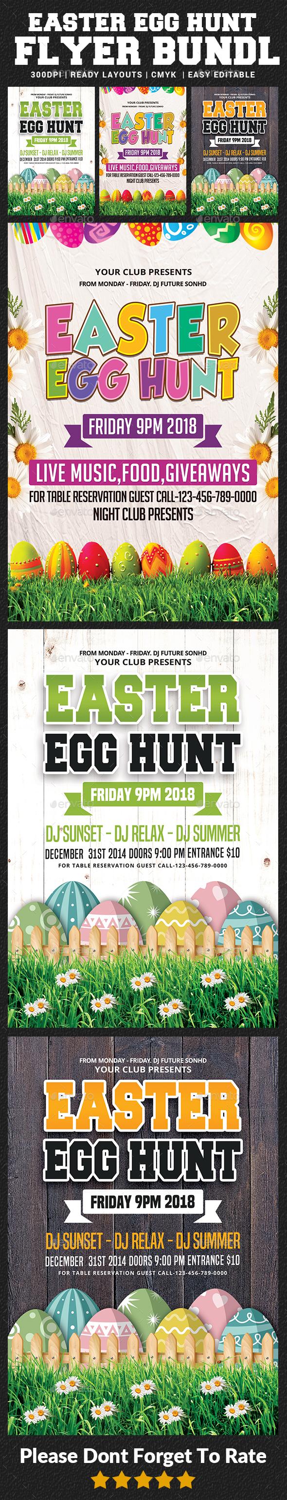 Easter Egg Hunt Flyer Bundle Template - Events Flyers