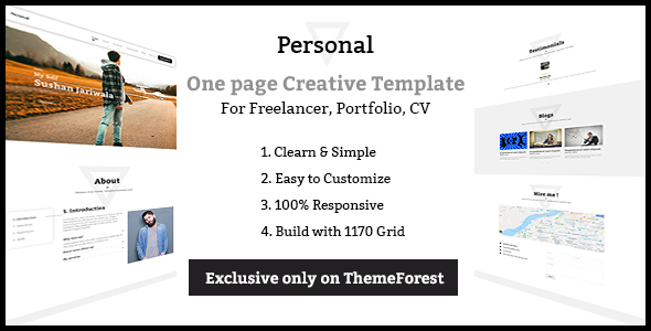 Image of Personal - One page Freelancer, Portfolio, CV Creative Template