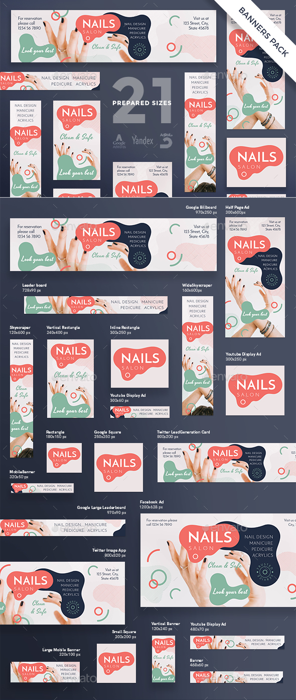 Nail Design Salon Banner Pack - Banners & Ads Web Elements