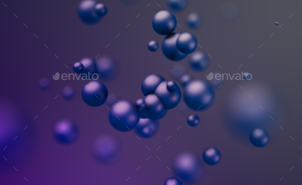 Abstract 3D Rendering. Flying Spheres. - 3D Backgrounds