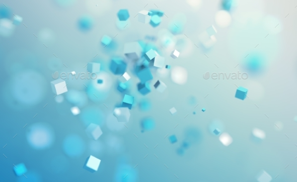Abstract 3D Rendering. Flying Cubes. - 3D Backgrounds
