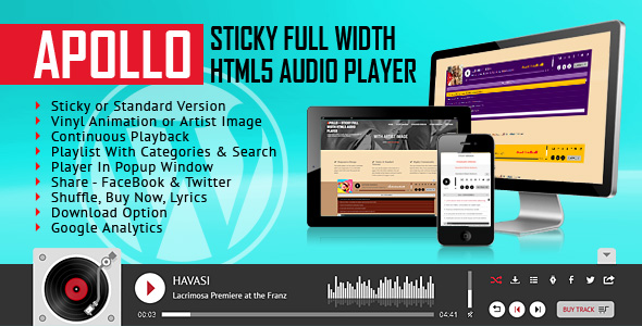 Apollo - Sticky Full Width HTML5 Audio Player - WordPress Plugin - CodeCanyon Item for Sale
