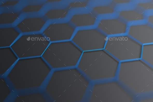 Abstract 3D Rendering. Surface with Hexagons. - 3D Backgrounds