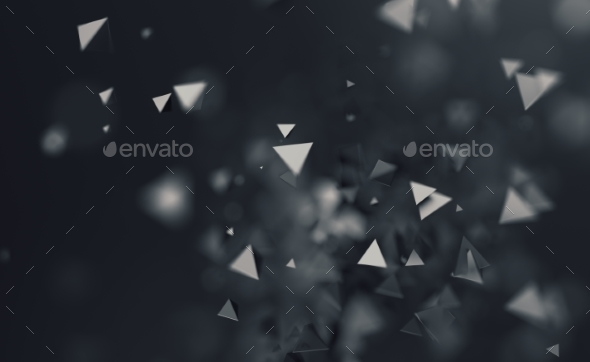Abstract 3D Rendering. Flying Polygonal Shapes - 3D Backgrounds