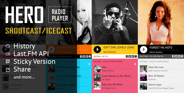 Hero - Shoutcast and Icecast Radio Player With History - CodeCanyon Item for Sale