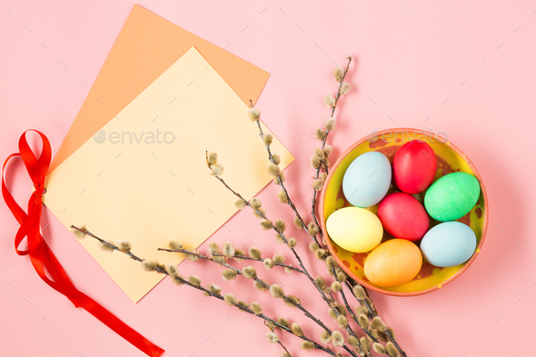 The top view of easter on pink table office workplace - Stock Photo - Images