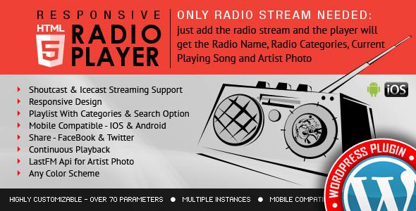 Radio Player Shoutcast & Icecast WordPress Plugin - CodeCanyon Item for Sale