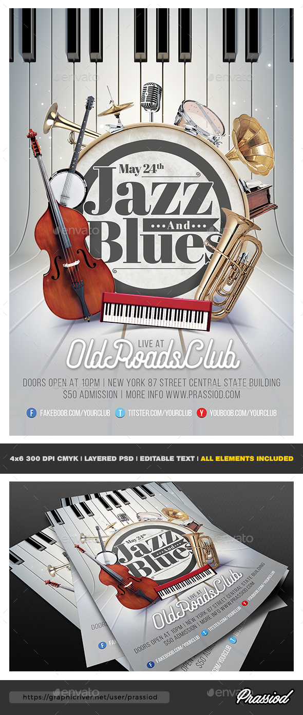 Jazz And Blues Flyer Template - Concerts Events