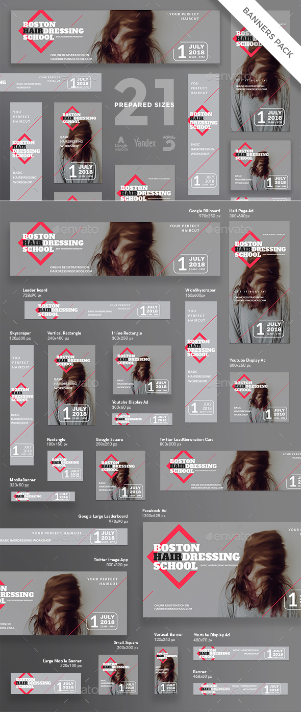 Hairdressing School Banner Pack - Banners & Ads Web Elements