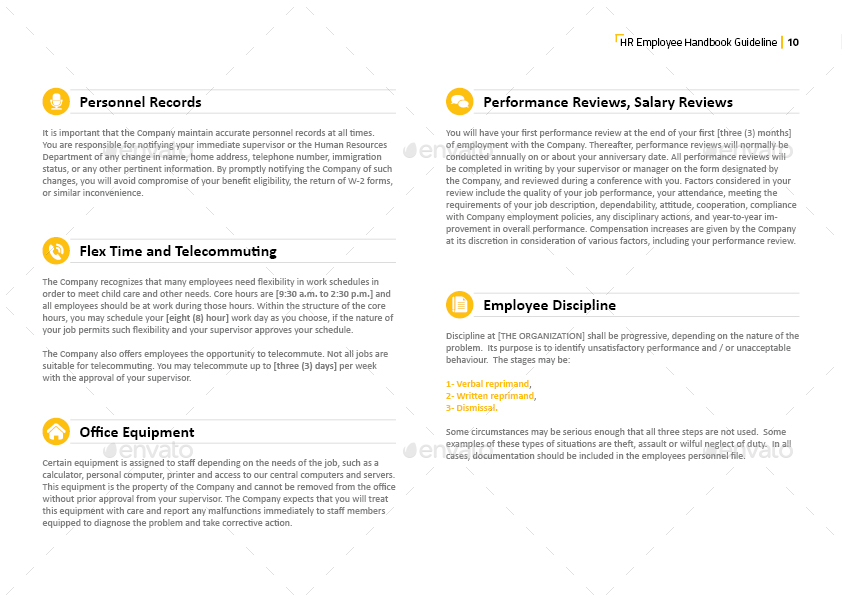 HR Employee Handbook Guideline Template By Creativescheme - Hr employee handbook template