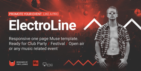 ElectroLine - One Page Event Promo Muse Template - Landing Muse Templates