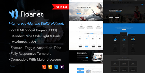 Noanet | Internet Provider and Digital Network HTML Template - Technology Site Templates