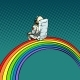 Astronaut Sits on a Rainbow