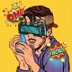 Hipster Man in Virtual Reality Glasses Talking - GraphicRiver Item for Sale