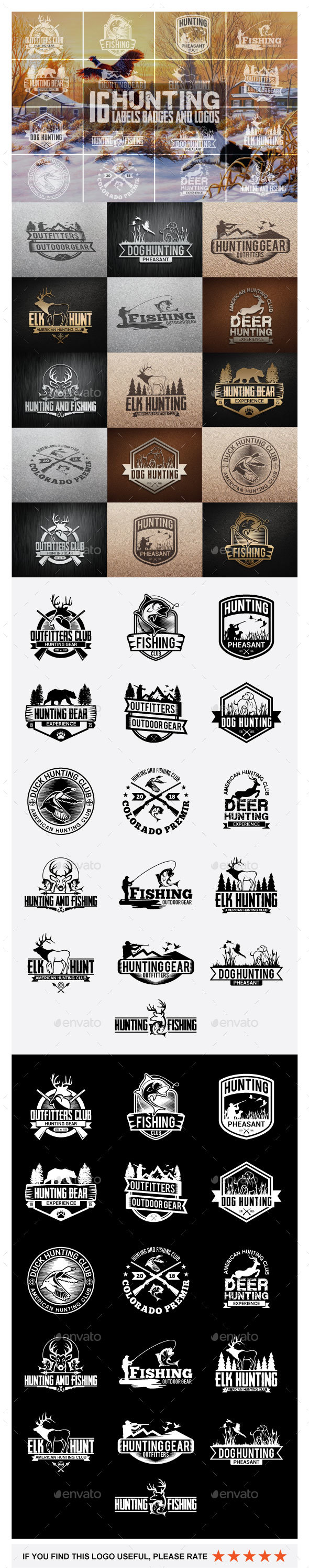 16 Hunting Badges and Logos - Badges & Stickers Web Elements
