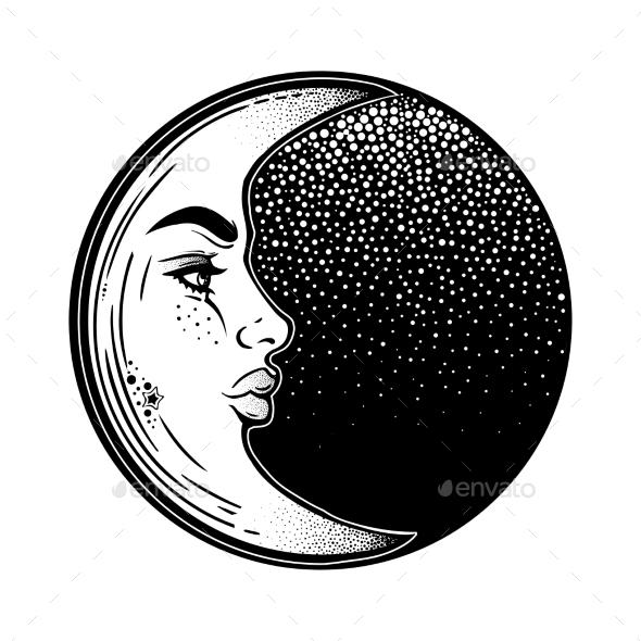 Crescent Moon As a Woman Face - Tattoos Vectors