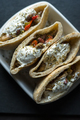 Tortilla stuffed with chicken and vegetables with sour cream. Fajita - PhotoDune Item for Sale