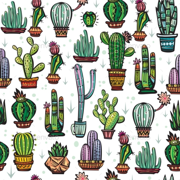 Seamless Pattern with Cactuses - Flowers & Plants Nature