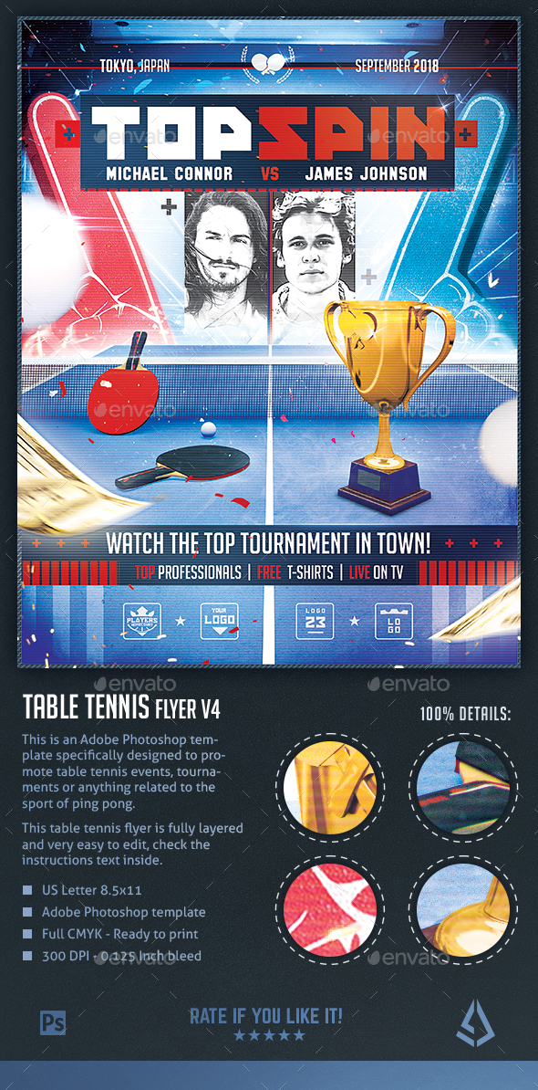 Table Tennis Flyer v4 - Ping Pong Poster Template Design - Sports Events