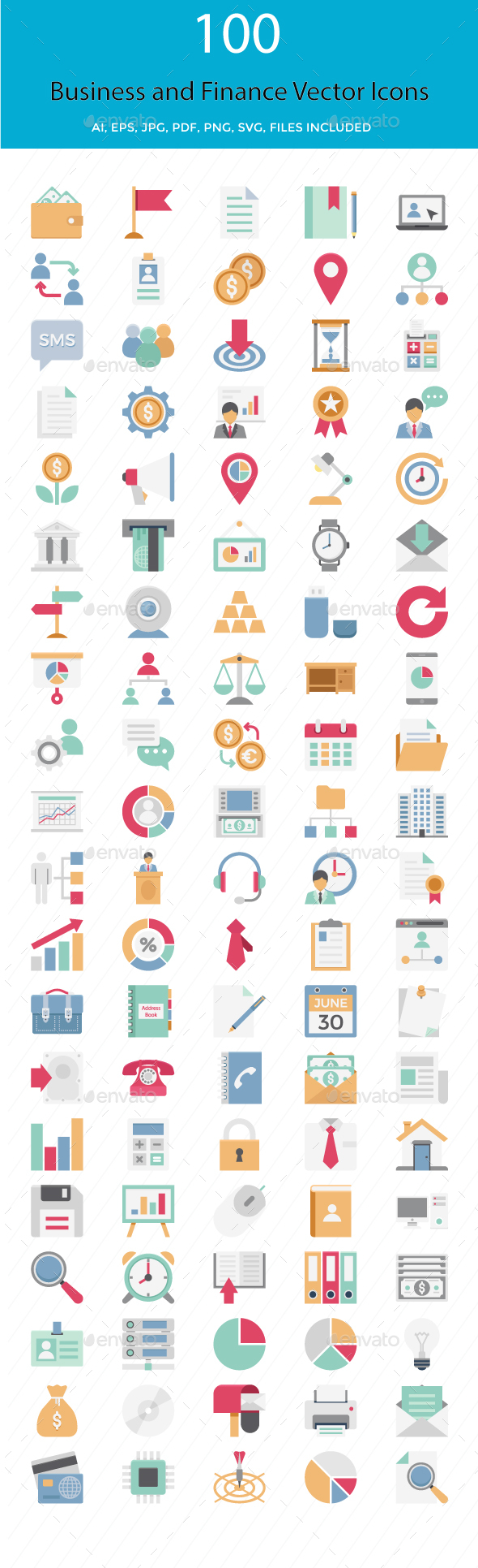 100 Business and Finance Color Vector Icons Pack - Icons