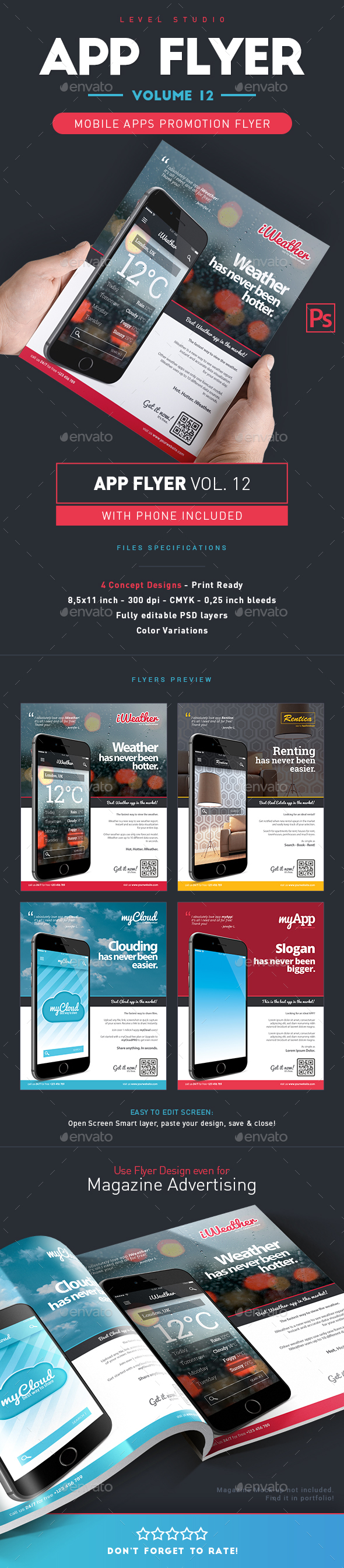 Mobile App Flyers Template 12 - Flyers Print Templates