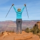 Woman Hiking In Grand Canyon Is Coming To The Observation Point And Arms Up - VideoHive Item for Sale