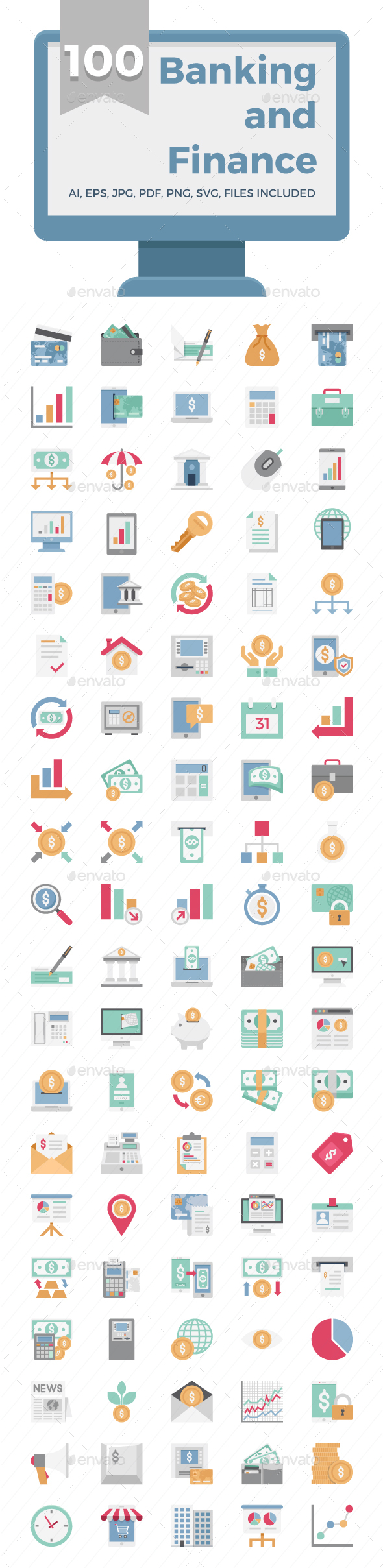100 Banking and Finance Color Vector Icons Set - Icons