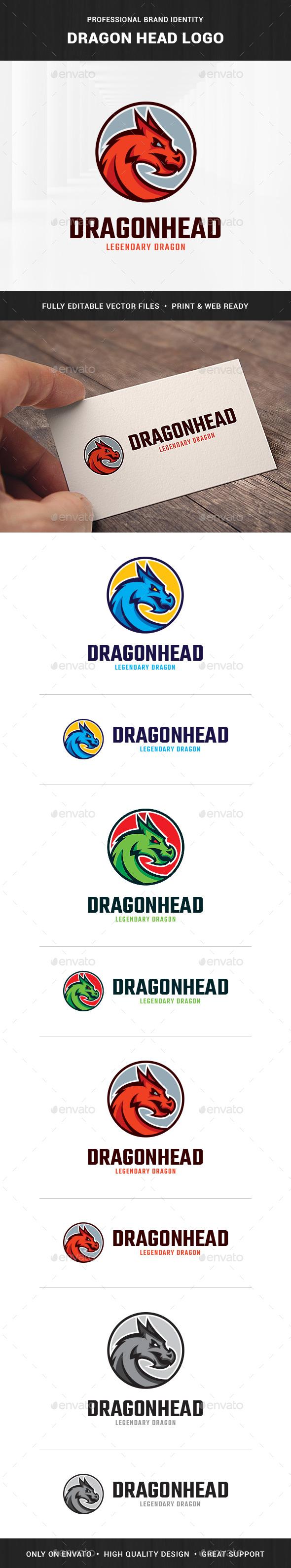 Dragon Head Logo Template - Animals Logo Templates