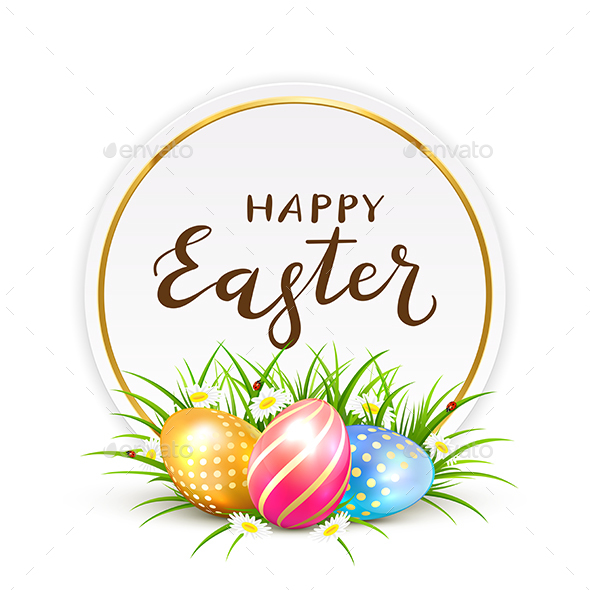 Card with Easter Eggs in Grass - Miscellaneous Seasons/Holidays