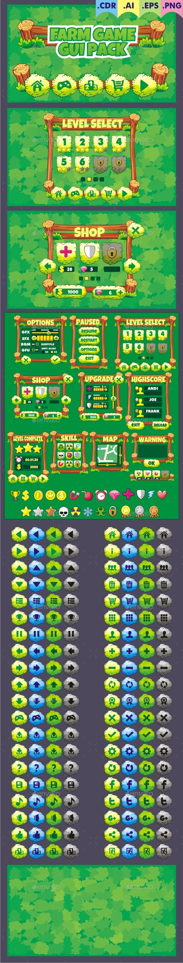 Farm Game Gui Pack - User Interfaces Game Assets