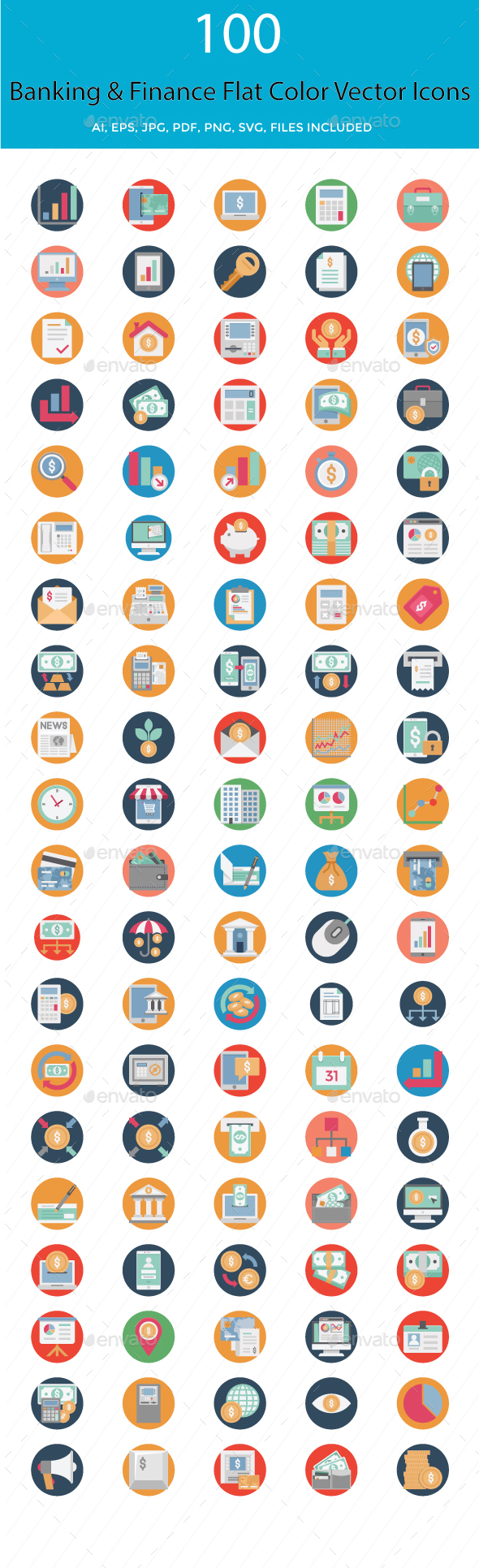 100 Banking and Finance Flat Icons - Icons