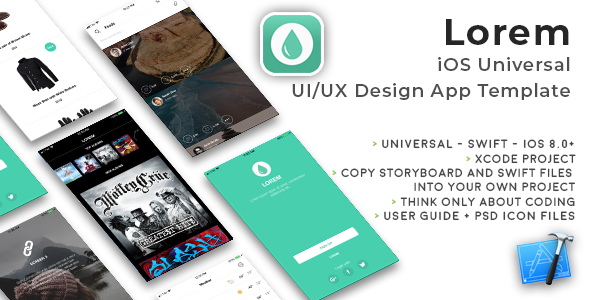 Lorem | iOS Universal UI Kit Design Template (Xcode project) - CodeCanyon Item for Sale
