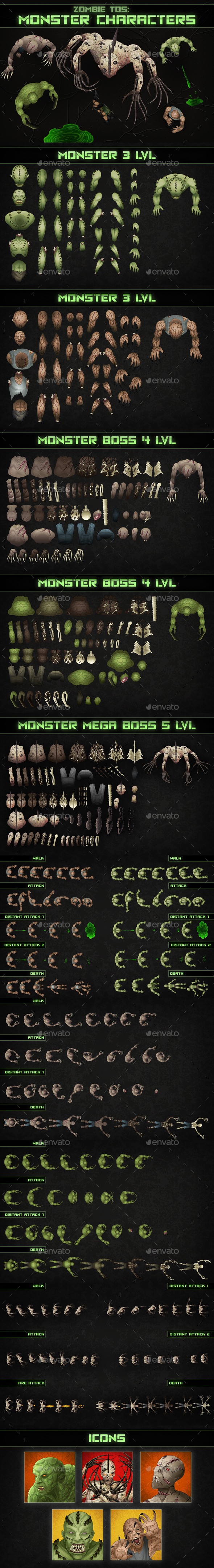 Top-Down Shooter: Monster - Sprites Game Assets