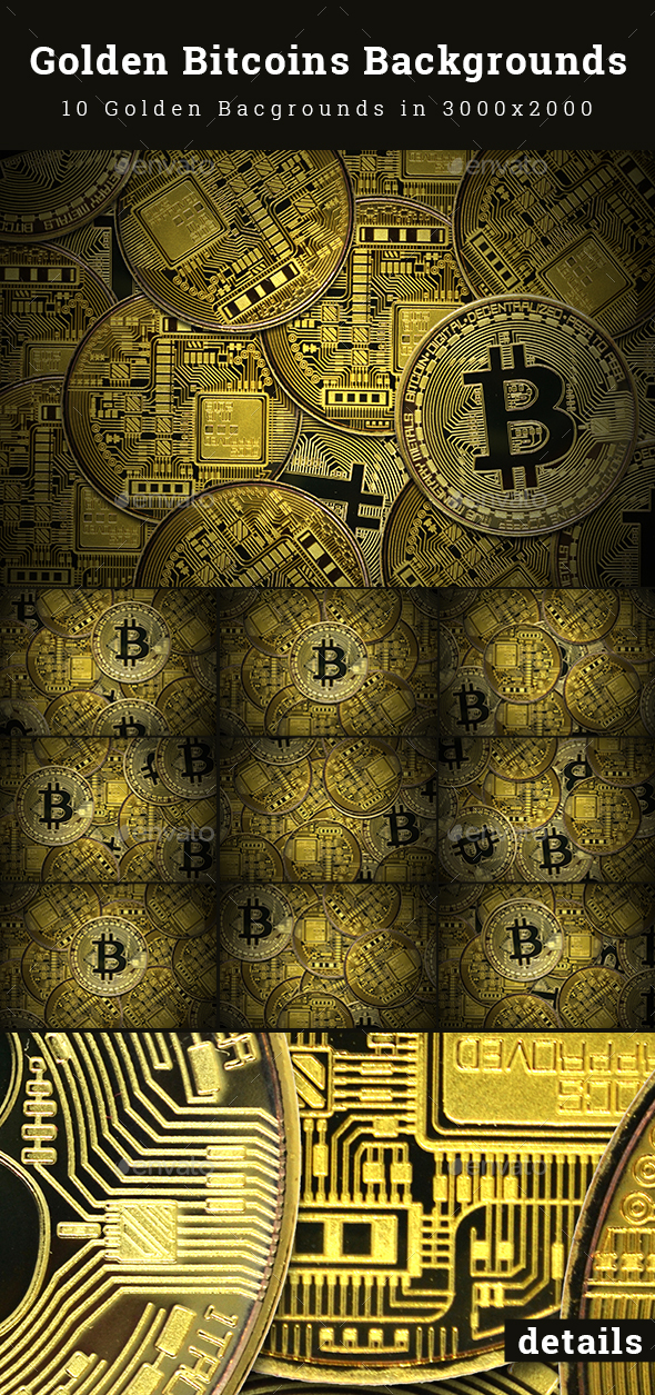 Golden Bitcoins Backgrounds - Business Backgrounds