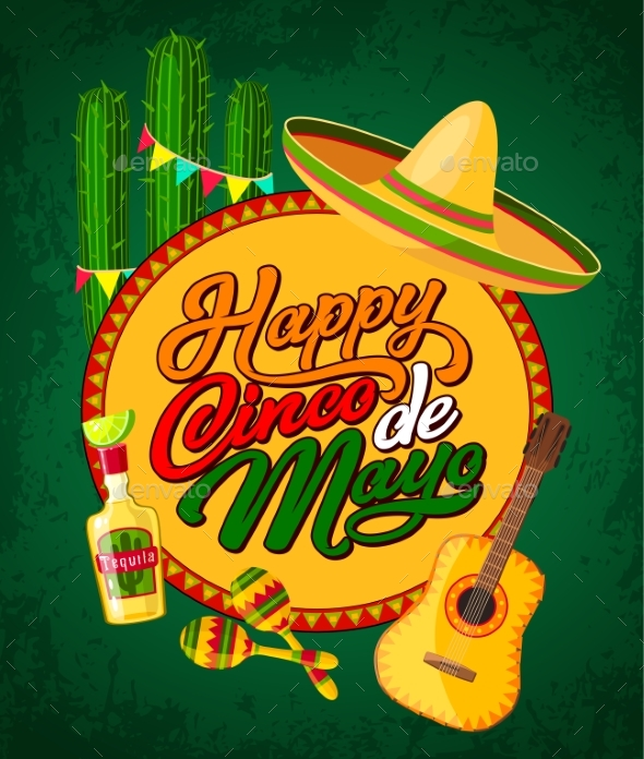 Cinco De Mayo Banner with Fiesta Party Symbols - Miscellaneous Seasons/Holidays