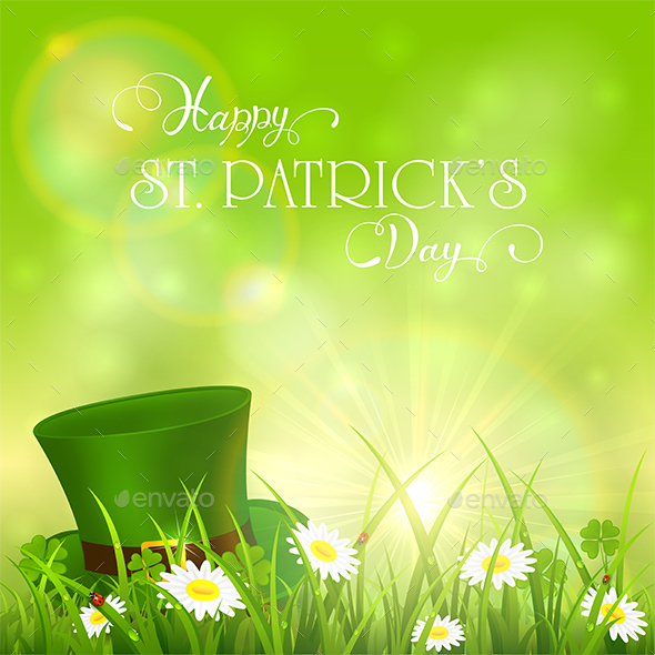 Patrick Day Background and Green Hat in Grass - Miscellaneous Seasons/Holidays