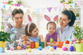 family are painting eggs - PhotoDune Item for Sale