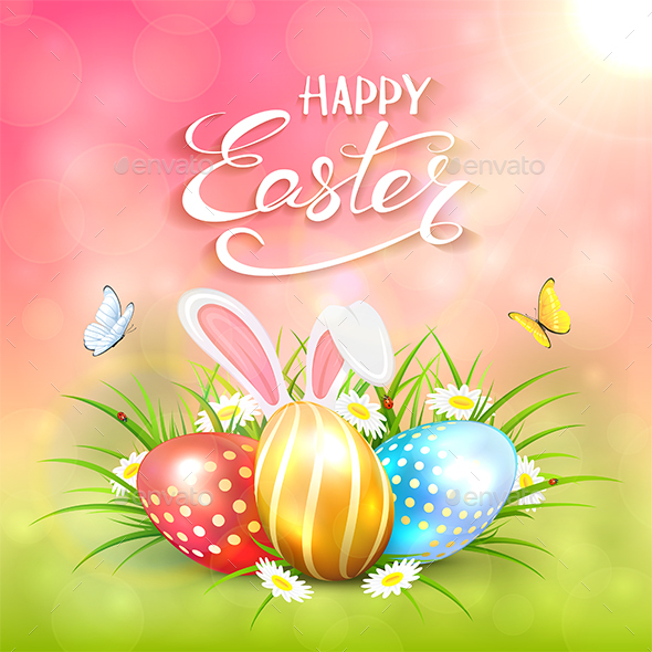Pink Sunny Background with Easter Eggs and Rabbit Ears in Grass - Miscellaneous Seasons/Holidays