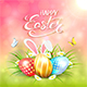 Pink Sunny Background with Easter Eggs and Rabbit Ears in Grass - GraphicRiver Item for Sale