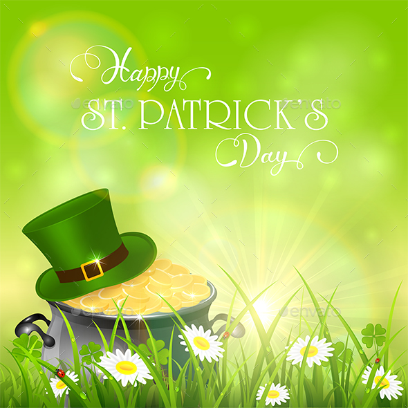 Patrick Day Background and Green Hat with Gold of Leprechauns - Miscellaneous Seasons/Holidays