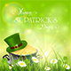 Patrick Day Background and Green Hat with Gold of Leprechauns
