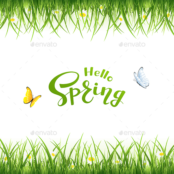 Text Hello Spring with Butterflies and Grass - Seasons Nature