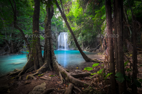 Jungle landscape with Erawan waterfall. Kanchanaburi, Thailand - Stock Photo - Images