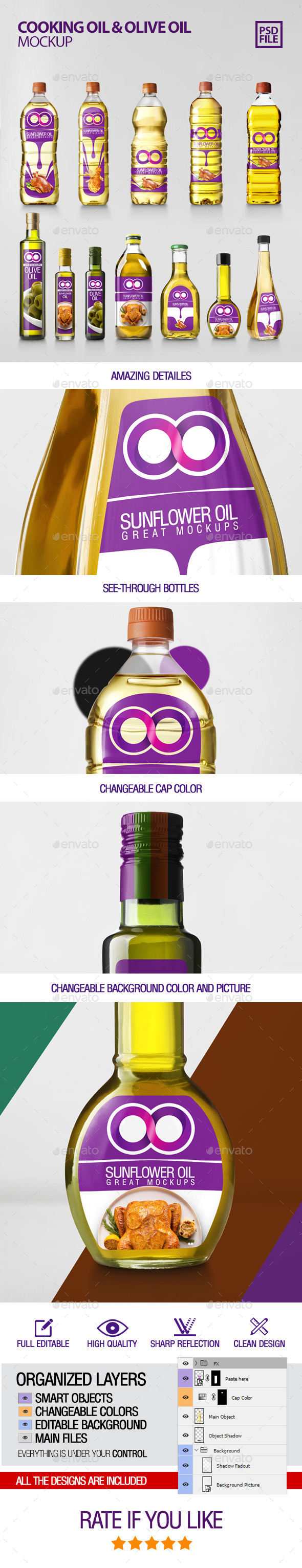 Cooking Oil & Olive Oil Bottle Mockup - Packaging Product Mock-Ups