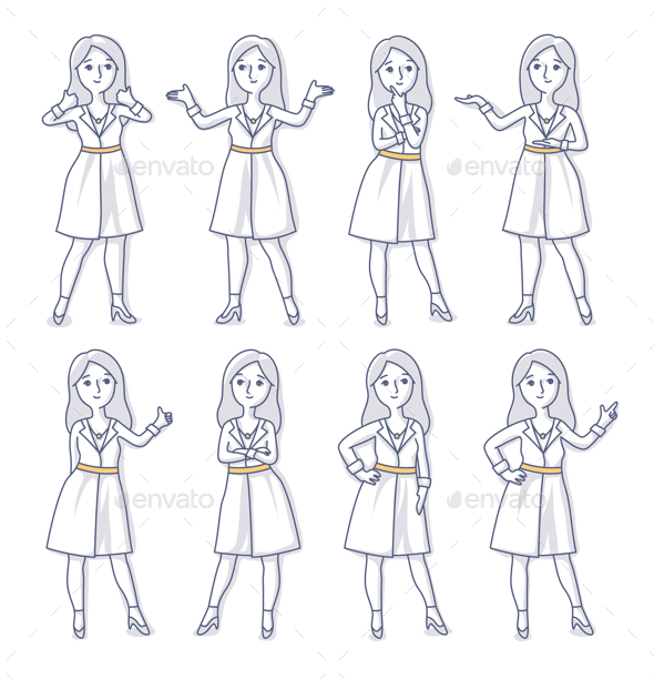 Young Woman Stands in Different Poses - People Characters