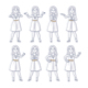 Young Woman Stands in Different Poses - GraphicRiver Item for Sale