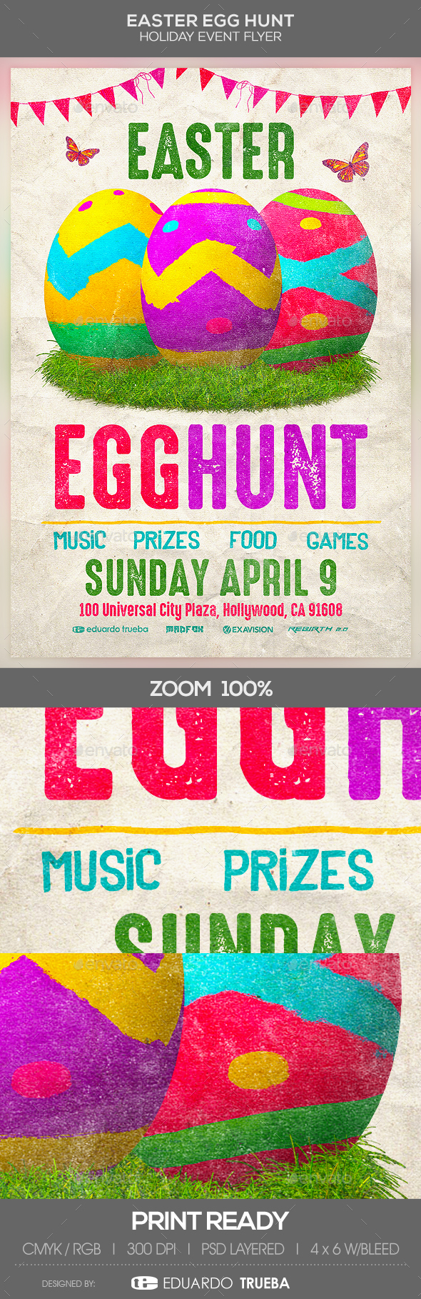 Easter Egg Hunt Holiday Event Flyer - Events Flyers