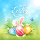 Blue Sunny Background with Easter Eggs and Rabbit